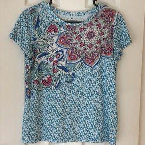 Talbots T-shirt aqua print